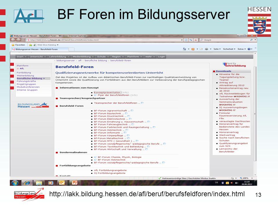 13 BF Foren im Bildungsserver http://lakk.bildung.hessen.de/afl/beruf/berufsfeldforen/index.html