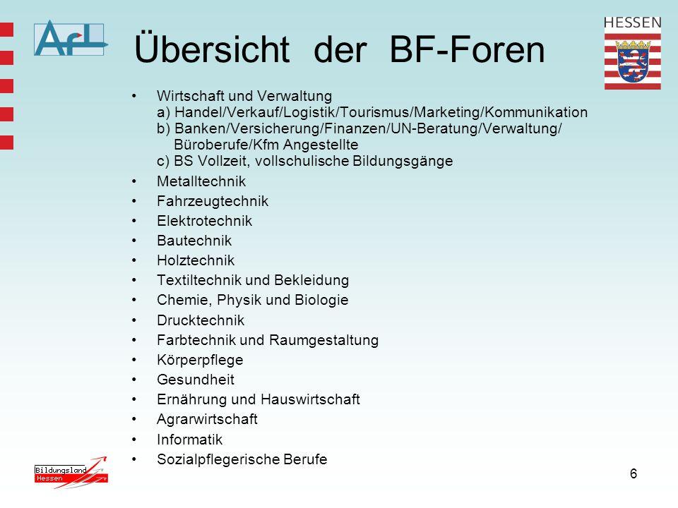 6 Übersicht der BF-Foren Wirtschaft und Verwaltung a) Handel/Verkauf/Logistik/Tourismus/Marketing/Kommunikation b) Banken/Versicherung/Finanzen/UN-Ber