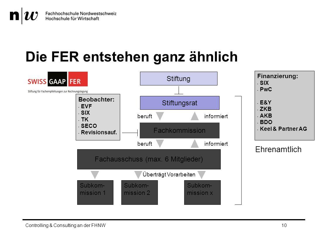 Die FER entstehen ganz ähnlich Controlling & Consulting an der FHNW10 Stiftung Stiftungsrat Fachkommission Subkom- mission 1 Subkom- mission 2 Fachausschuss (max.