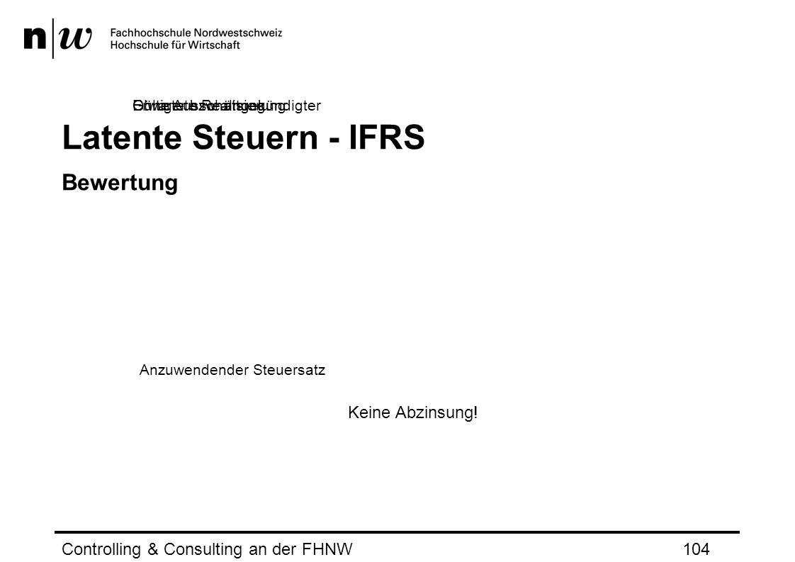 Latente Steuern - IFRS Bewertung Controlling & Consulting an der FHNW104 Anzuwendender Steuersatz Gültiger bzw.