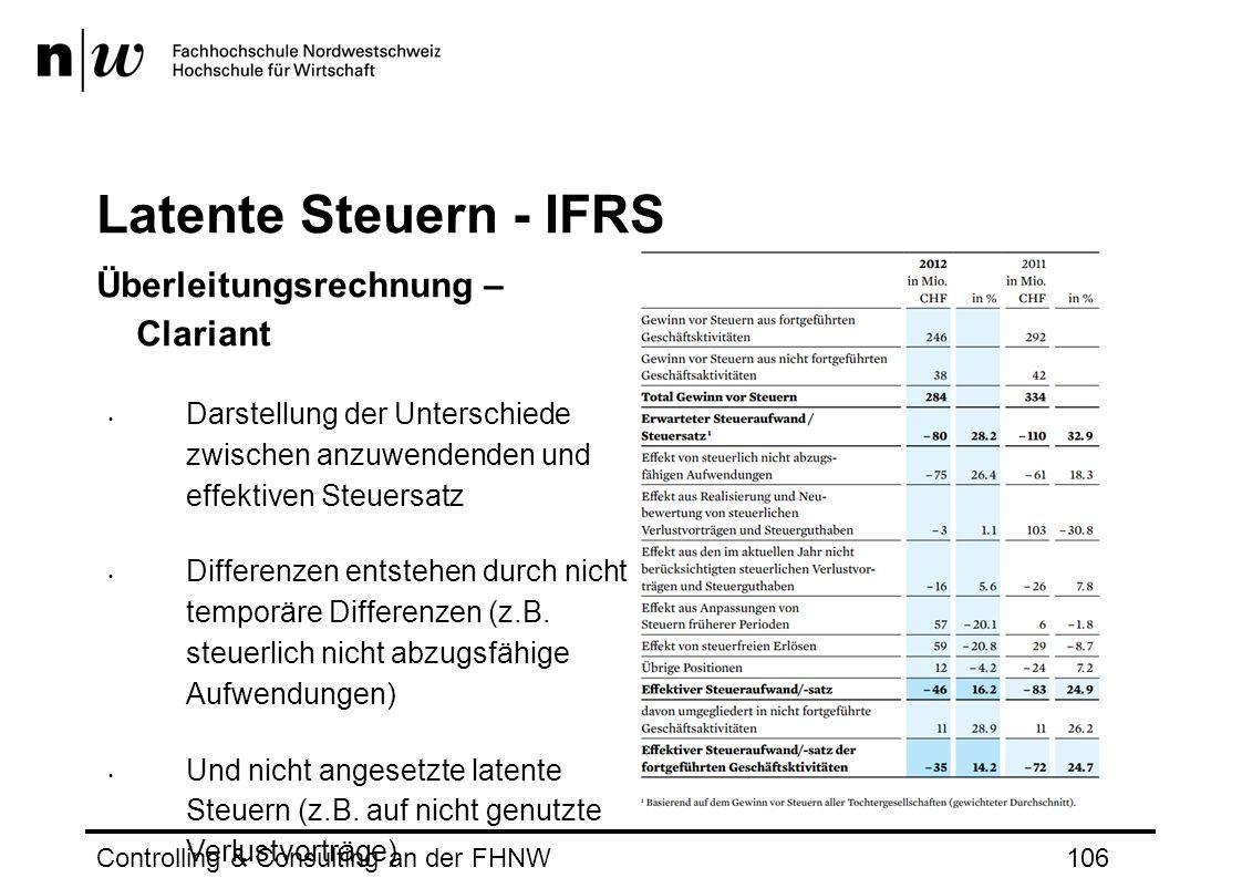 Latente Steuern - IFRS Überleitungsrechnung – Clariant Darstellung der Unterschiede zwischen anzuwendenden und effektiven Steuersatz Differenzen entstehen durch nicht temporäre Differenzen (z.B.