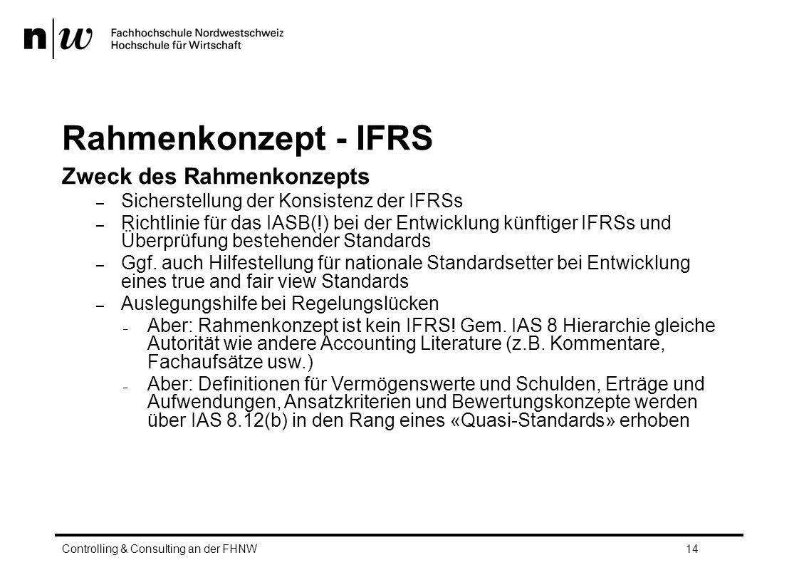 Rahmenkonzept - IFRS Zweck des Rahmenkonzepts – Sicherstellung der Konsistenz der IFRSs – Richtlinie für das IASB(!) bei der Entwicklung künftiger IFRSs und Überprüfung bestehender Standards – Ggf.