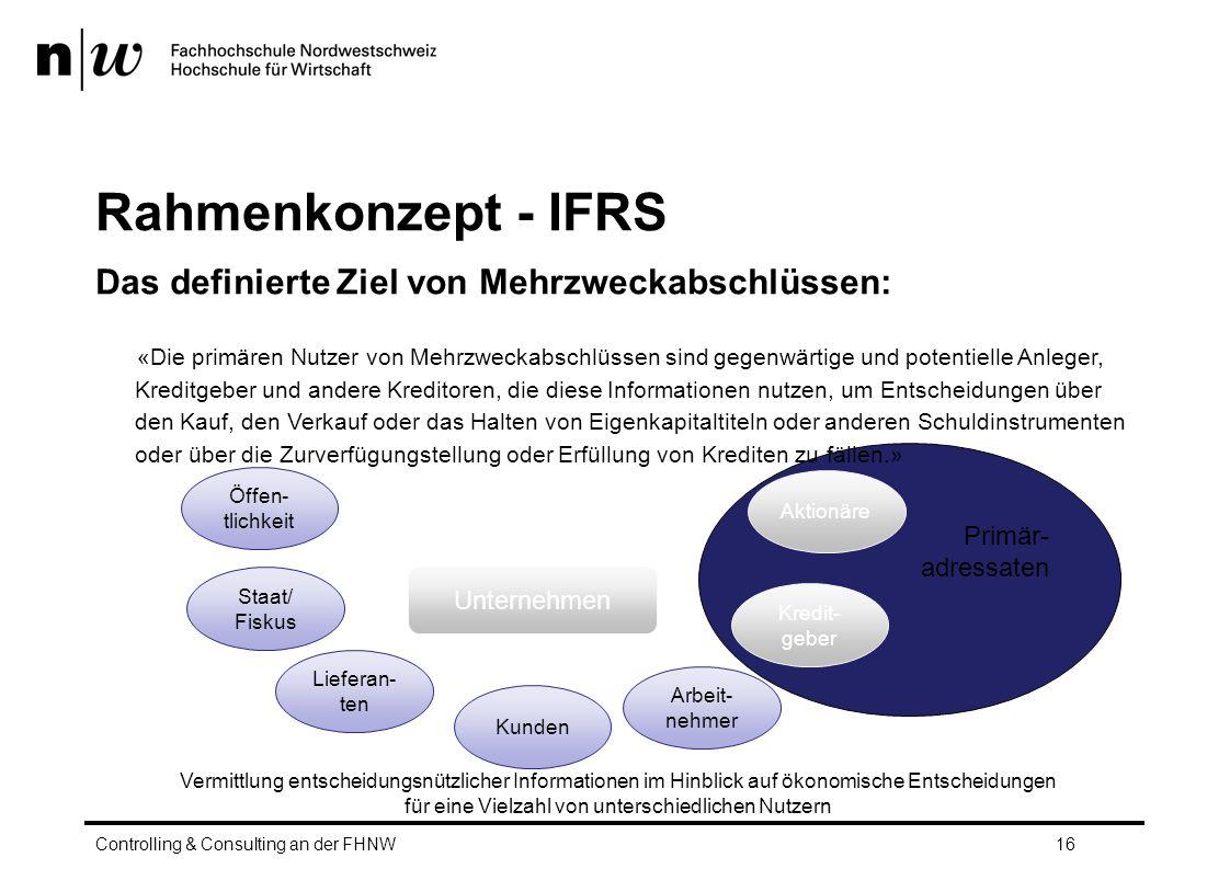 Primär- adressaten Rahmenkonzept - IFRS Das definierte Ziel von Mehrzweckabschlüssen: «Die primären Nutzer von Mehrzweckabschlüssen sind gegenwärtige und potentielle Anleger, Kreditgeber und andere Kreditoren, die diese Informationen nutzen, um Entscheidungen über den Kauf, den Verkauf oder das Halten von Eigenkapitaltiteln oder anderen Schuldinstrumenten oder über die Zurverfügungstellung oder Erfüllung von Krediten zu fällen.» Controlling & Consulting an der FHNW16 Unternehmen Aktionäre Arbeit- nehmer Kredit- geber Kunden Lieferan- ten Staat/ Fiskus Öffen- tlichkeit Vermittlung entscheidungsnützlicher Informationen im Hinblick auf ökonomische Entscheidungen für eine Vielzahl von unterschiedlichen Nutzern