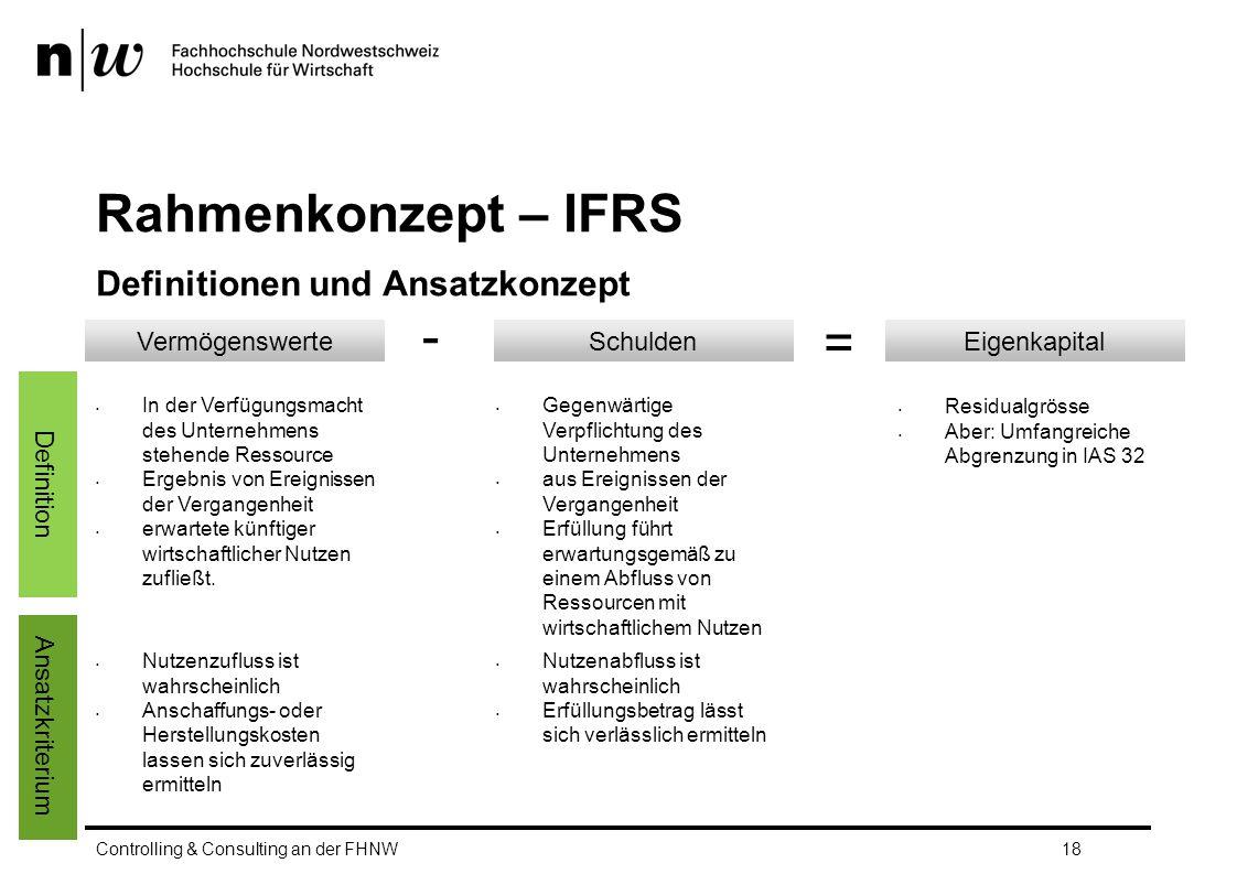 Rahmenkonzept – IFRS Definitionen und Ansatzkonzept Controlling & Consulting an der FHNW18 VermögenswerteSchuldenEigenkapital In der Verfügungsmacht des Unternehmens stehende Ressource Ergebnis von Ereignissen der Vergangenheit erwartete künftiger wirtschaftlicher Nutzen zufließt.