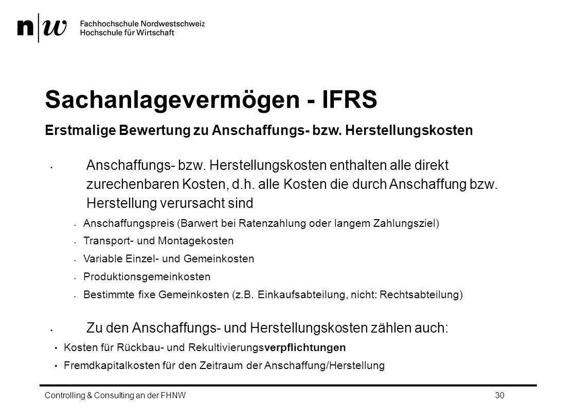 Sachanlagevermögen - IFRS Erstmalige Bewertung zu Anschaffungs- bzw.