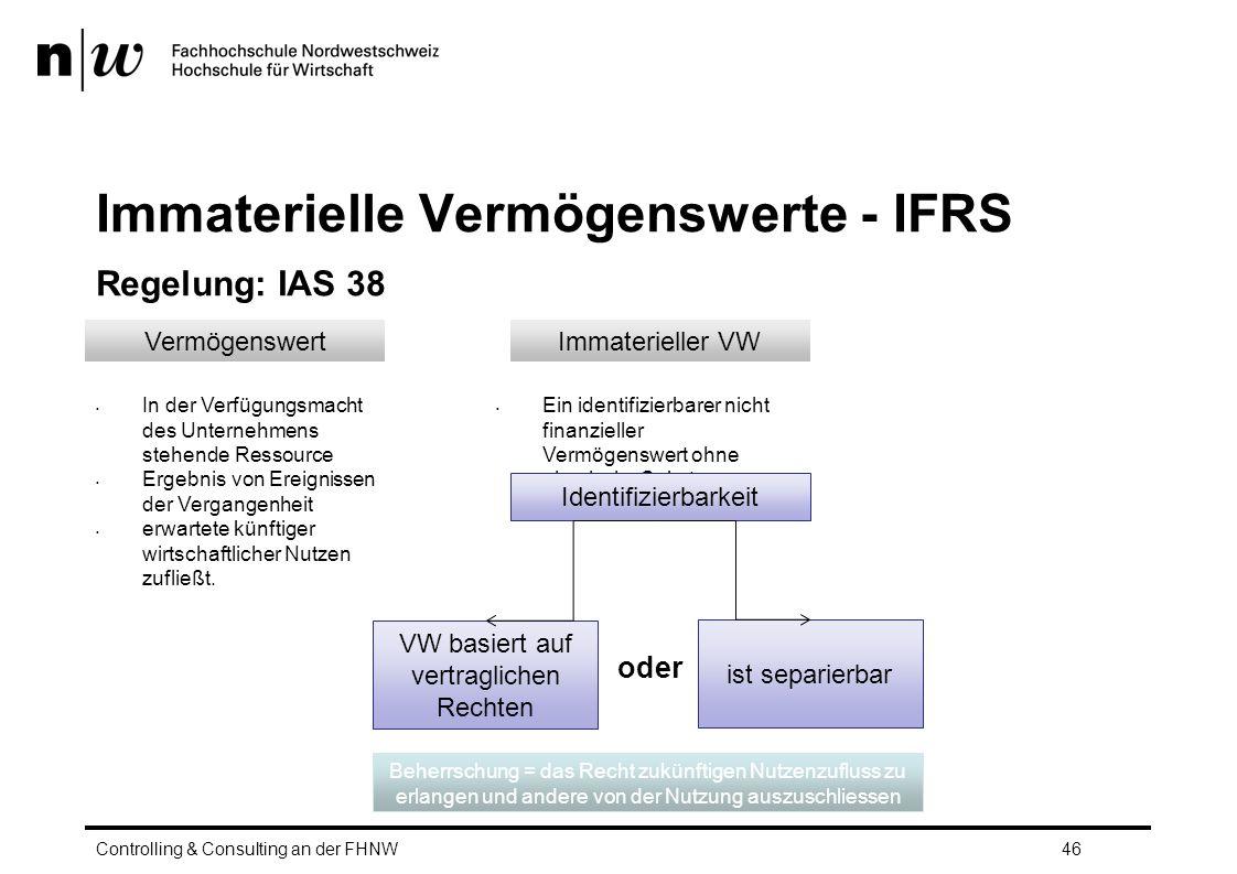 Immaterielle Vermögenswerte - IFRS Regelung: IAS 38 Controlling & Consulting an der FHNW46 VermögenswertImmaterieller VW In der Verfügungsmacht des Unternehmens stehende Ressource Ergebnis von Ereignissen der Vergangenheit erwartete künftiger wirtschaftlicher Nutzen zufließt.