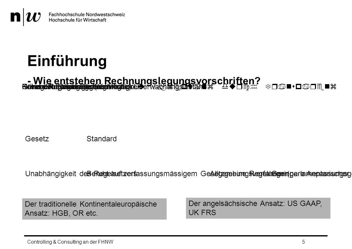 """Einführung – Sowohl IFRS als auch Swiss GAAP FER gehören zur Gruppe der Standards – Verabschiedung nach einem ähnlichen Verfahren – IFRS  aufgrund höherer internationaler Bedeutung, stärkerer Einfluss internationaler Gruppen (IOSCO, SEC, EU etc.) – FER: beschränkt auf Anwender in der Schweiz – IFRS erlangen in der EU Gesetzeskraft durch """"Komitologieverfahren (Endorsement) – Durch Endorsement erlangen IFRS den Status einer EU-Verordnung und damit unmittelbare Gesetzeskraft in den EU-Mitgliedsstaten – Keine Vergleichbare Autorisierung der FER Controlling & Consulting an der FHNW6"""
