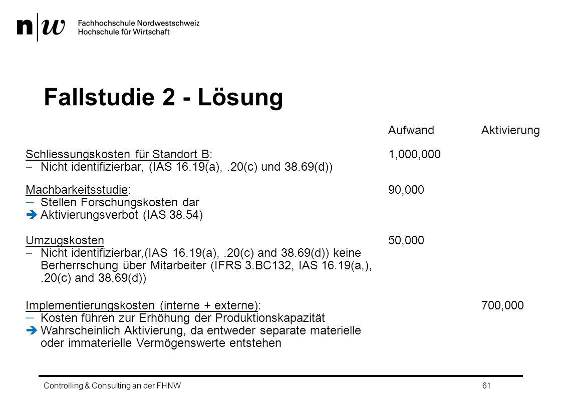 Fallstudie 2 - Lösung Controlling & Consulting an der FHNW61 AufwandAktivierung Schliessungskosten für Standort B:  Nicht identifizierbar, (IAS 16.19(a),.20(c) und 38.69(d)) 1,000,000 Machbarkeitsstudie:  Stellen Forschungskosten dar  Aktivierungsverbot (IAS 38.54) 90,000 Umzugskosten  Nicht identifizierbar,(IAS 16.19(a),.20(c) and 38.69(d)) keine Berherrschung über Mitarbeiter (IFRS 3.BC132, IAS 16.19(a,),.20(c) and 38.69(d)) 50,000 Implementierungskosten (interne + externe):  Kosten führen zur Erhöhung der Produktionskapazität  Wahrscheinlich Aktivierung, da entweder separate materielle oder immaterielle Vermögenswerte entstehen 700,000
