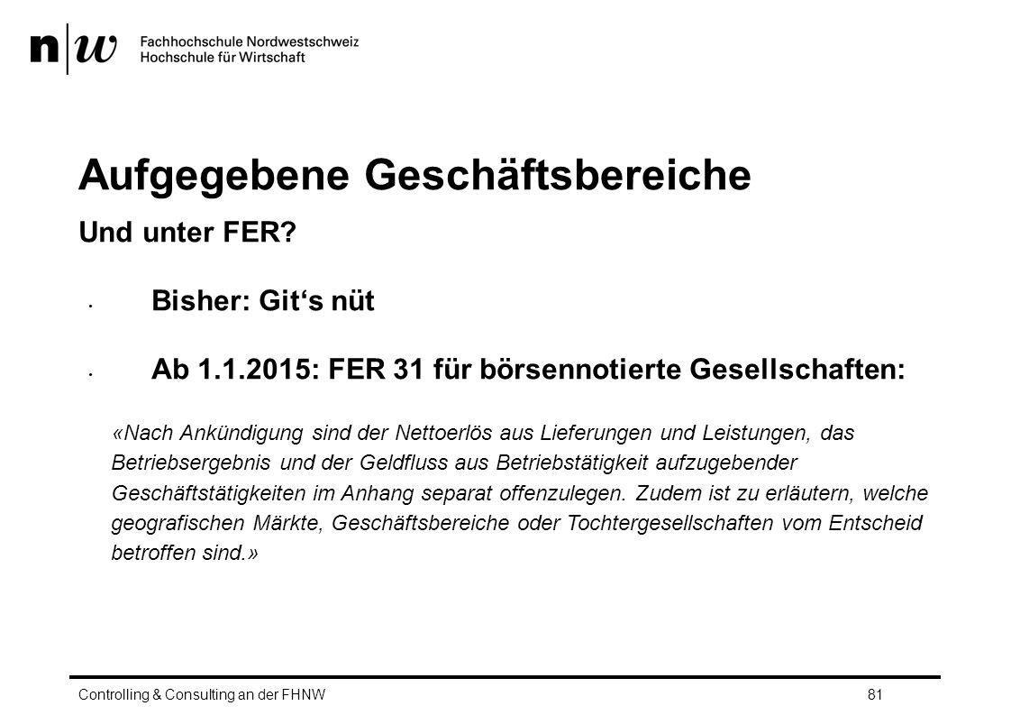 Aufgegebene Geschäftsbereiche Und unter FER.