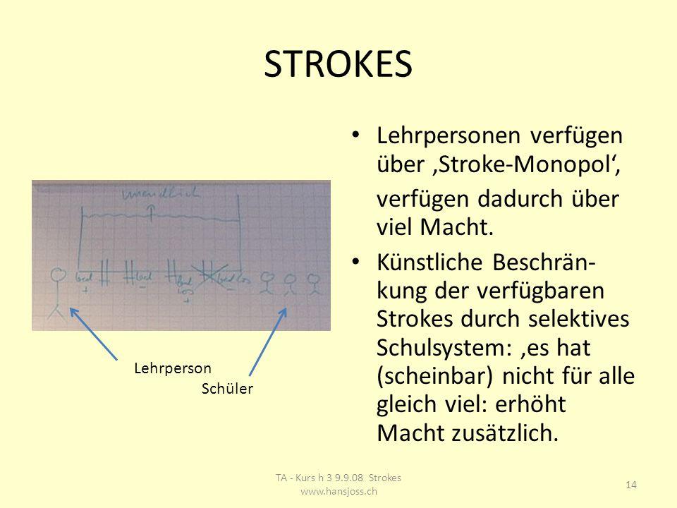 STROKES Lehrpersonen verfügen über 'Stroke-Monopol', verfügen dadurch über viel Macht.