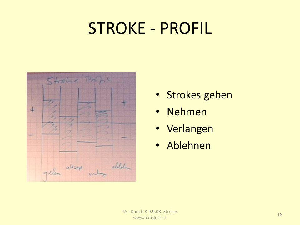 STROKE - PROFIL Strokes geben Nehmen Verlangen Ablehnen 16 TA - Kurs h 3 9.9.08 Strokes www.hansjoss.ch