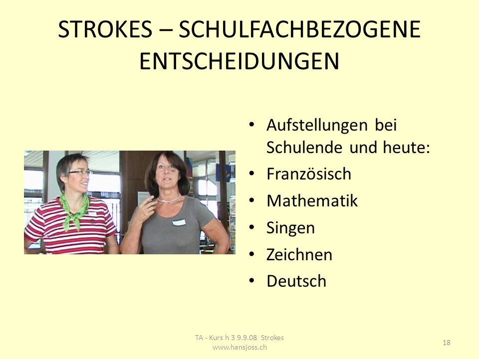 STROKES – SCHULFACHBEZOGENE ENTSCHEIDUNGEN Aufstellungen bei Schulende und heute: Französisch Mathematik Singen Zeichnen Deutsch 18 TA - Kurs h 3 9.9.08 Strokes www.hansjoss.ch