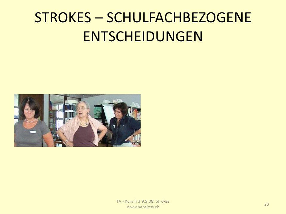 STROKES – SCHULFACHBEZOGENE ENTSCHEIDUNGEN 23 TA - Kurs h 3 9.9.08 Strokes www.hansjoss.ch