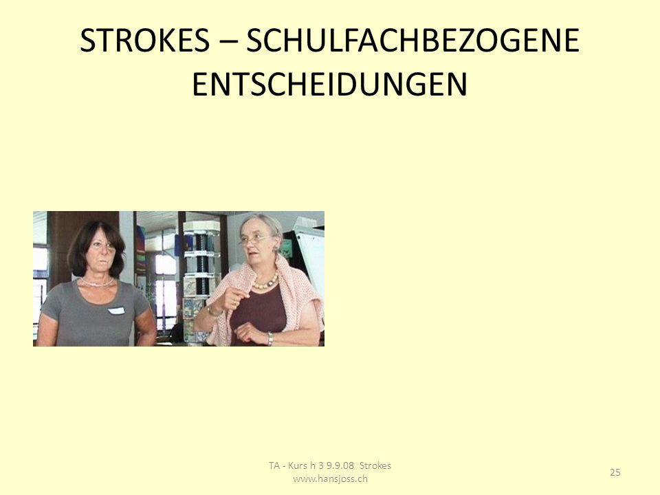 STROKES – SCHULFACHBEZOGENE ENTSCHEIDUNGEN 25 TA - Kurs h 3 9.9.08 Strokes www.hansjoss.ch