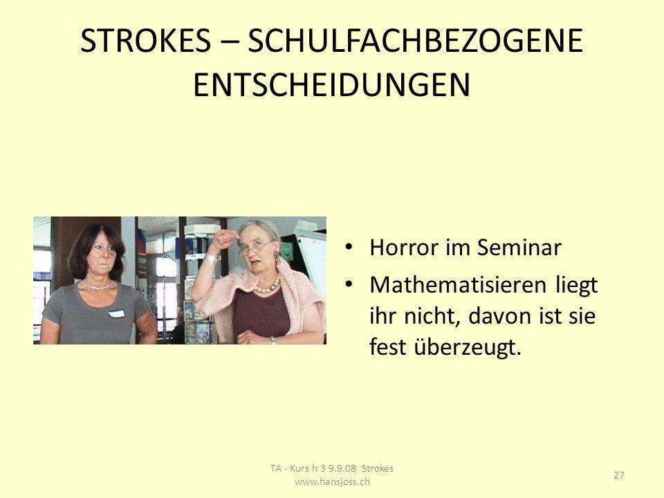 STROKES – SCHULFACHBEZOGENE ENTSCHEIDUNGEN Horror im Seminar Mathematisieren liegt ihr nicht, davon ist sie fest überzeugt.