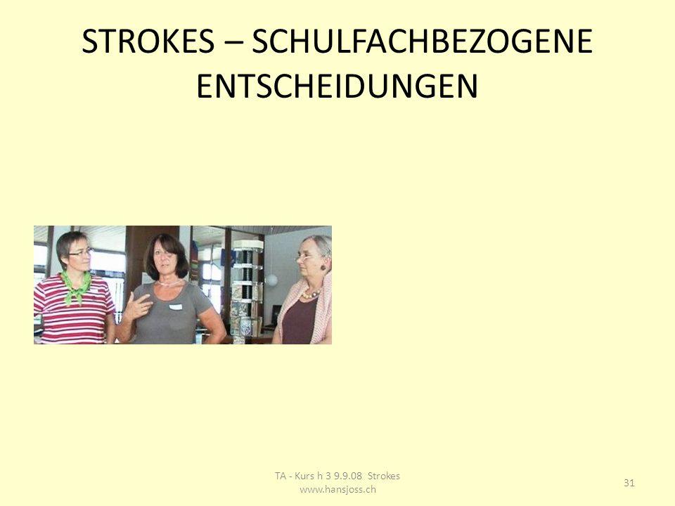 STROKES – SCHULFACHBEZOGENE ENTSCHEIDUNGEN 31 TA - Kurs h 3 9.9.08 Strokes www.hansjoss.ch