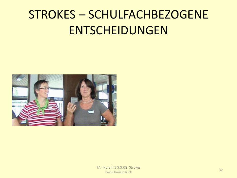 STROKES – SCHULFACHBEZOGENE ENTSCHEIDUNGEN 32 TA - Kurs h 3 9.9.08 Strokes www.hansjoss.ch