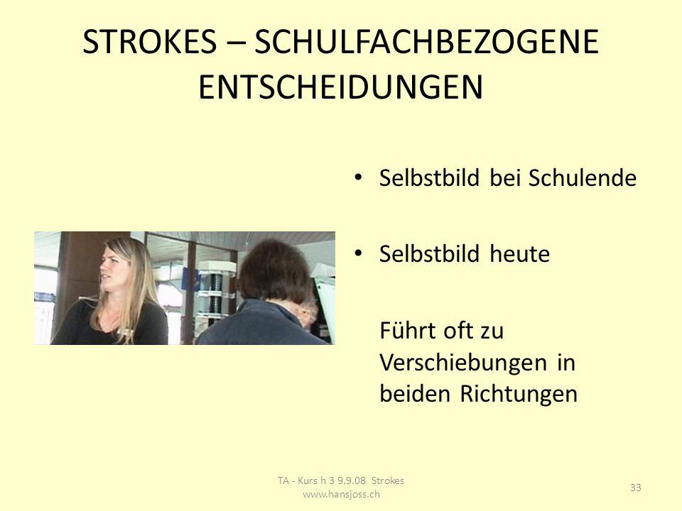 STROKES – SCHULFACHBEZOGENE ENTSCHEIDUNGEN Selbstbild bei Schulende Selbstbild heute Führt oft zu Verschiebungen in beiden Richtungen 33 TA - Kurs h 3 9.9.08 Strokes www.hansjoss.ch