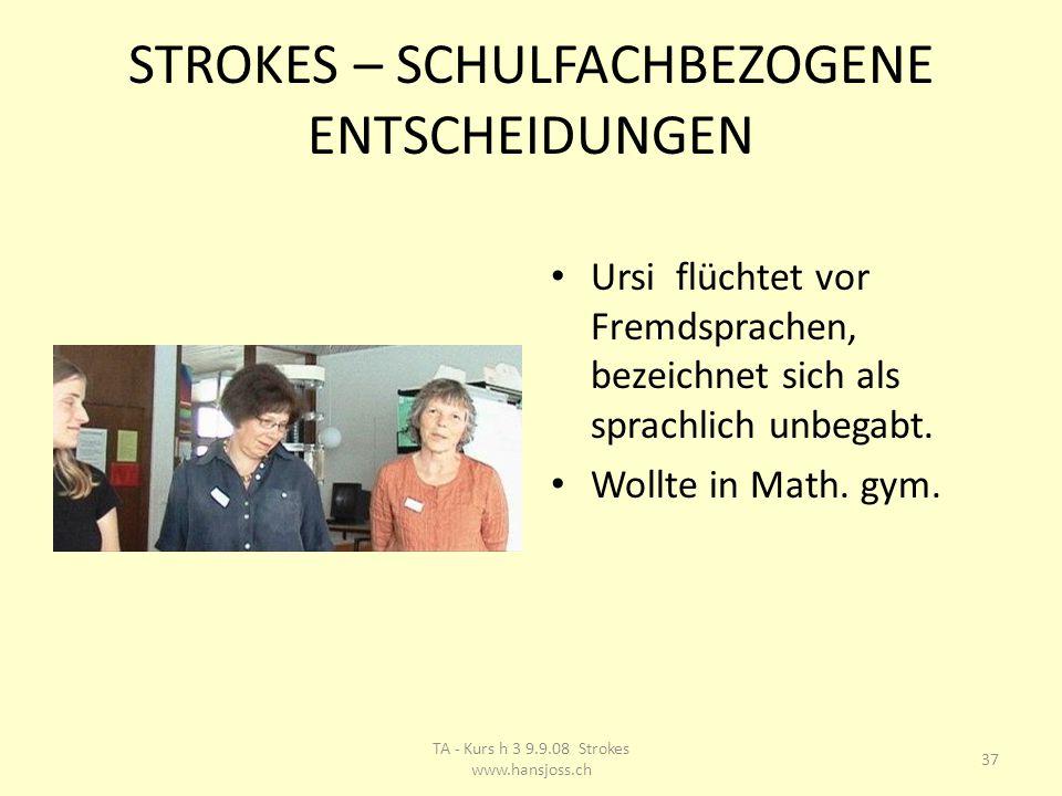 STROKES – SCHULFACHBEZOGENE ENTSCHEIDUNGEN Ursi flüchtet vor Fremdsprachen, bezeichnet sich als sprachlich unbegabt.