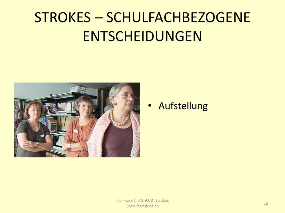 STROKES – SCHULFACHBEZOGENE ENTSCHEIDUNGEN Aufstellung 38 TA - Kurs h 3 9.9.08 Strokes www.hansjoss.ch