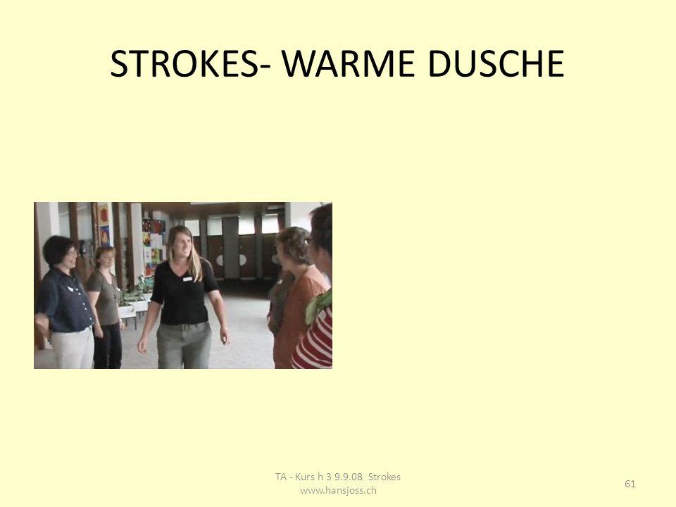 STROKES- WARME DUSCHE 61 TA - Kurs h 3 9.9.08 Strokes www.hansjoss.ch