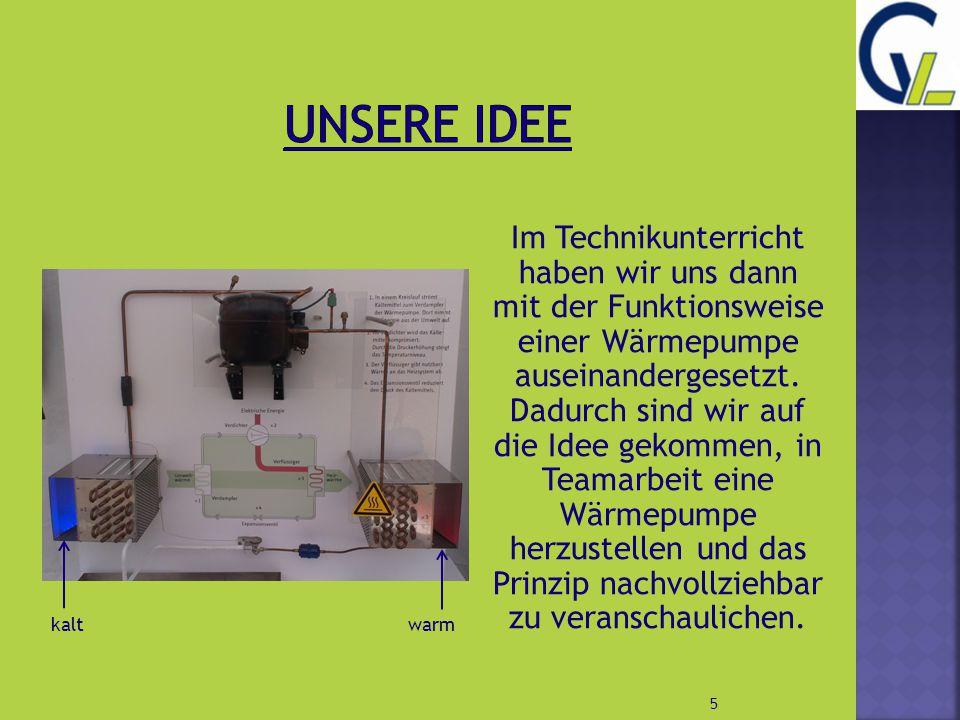 Im Technikunterricht haben wir uns dann mit der Funktionsweise einer Wärmepumpe auseinandergesetzt. Dadurch sind wir auf die Idee gekommen, in Teamarb