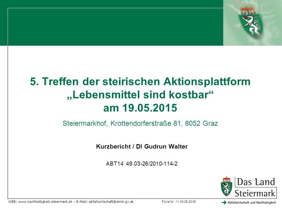 """Folie Nr.: 1 / 19.05.2015 WEB: www.nachhaltigkeit.steiermark.at – E-Mail: abfallwirtschaft@stmk.gv.at 5. Treffen der steirischen Aktionsplattform """"Leb"""