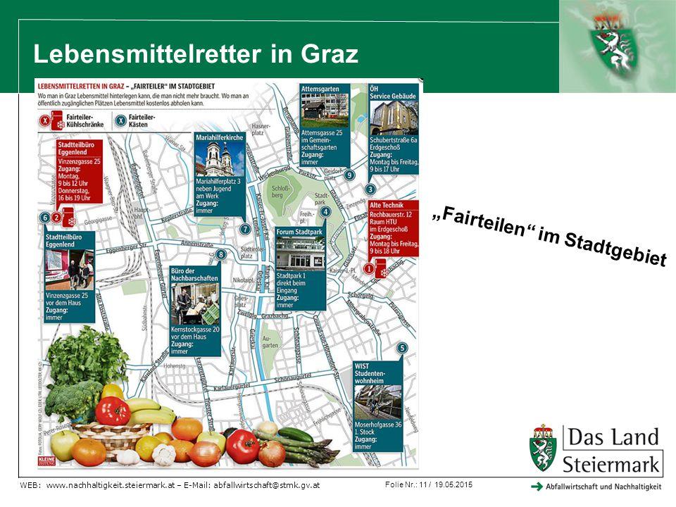 """Folie Nr.: 11 / 19.05.2015 WEB: www.nachhaltigkeit.steiermark.at – E-Mail: abfallwirtschaft@stmk.gv.at Lebensmittelretter in Graz """"Fairteilen im Stadtgebiet"""