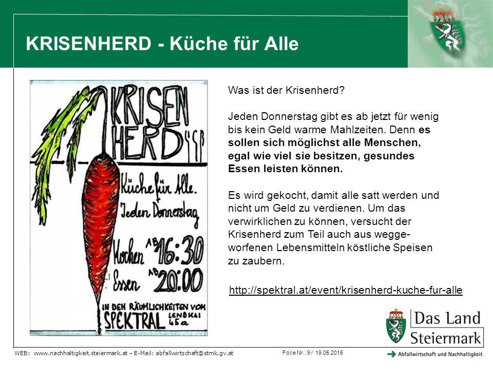 Folie Nr.: 9 / 19.05.2015 WEB: www.nachhaltigkeit.steiermark.at – E-Mail: abfallwirtschaft@stmk.gv.at KRISENHERD - Küche für Alle http://spektral.at/event/krisenherd-kuche-fur-alle Was ist der Krisenherd.