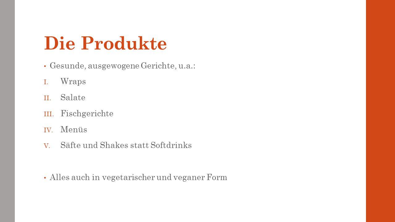 Die Produkte Gesunde, ausgewogene Gerichte, u.a.: I. Wraps II. Salate III. Fischgerichte IV. Menüs V. Säfte und Shakes statt Softdrinks Alles auch in