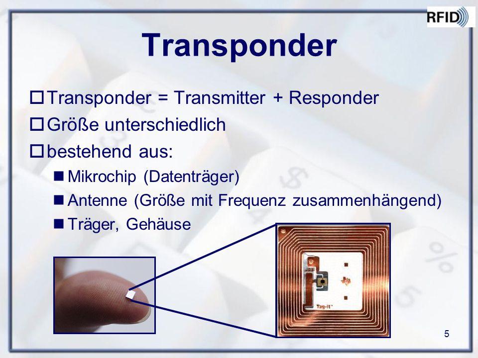 5 Transponder  Transponder = Transmitter + Responder  Größe unterschiedlich  bestehend aus: Mikrochip (Datenträger) Antenne (Größe mit Frequenz zusammenhängend) Träger, Gehäuse