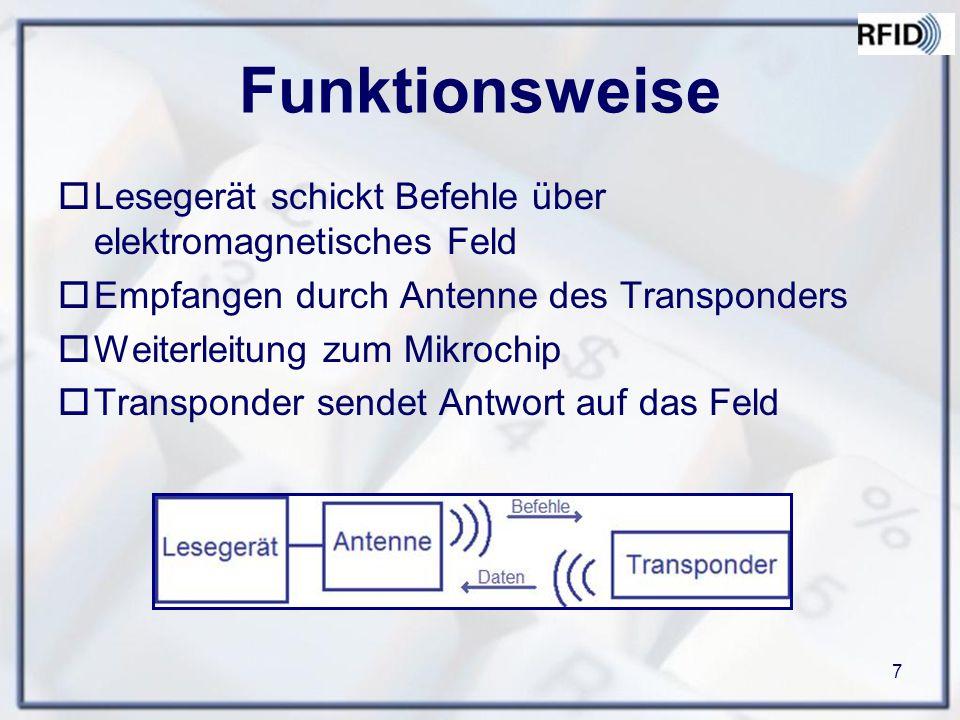 7 Funktionsweise  Lesegerät schickt Befehle über elektromagnetisches Feld  Empfangen durch Antenne des Transponders  Weiterleitung zum Mikrochip  Transponder sendet Antwort auf das Feld