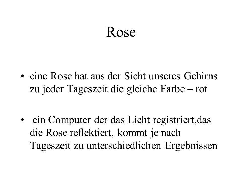 Rose eine Rose hat aus der Sicht unseres Gehirns zu jeder Tageszeit die gleiche Farbe – rot ein Computer der das Licht registriert,das die Rose reflektiert, kommt je nach Tageszeit zu unterschiedlichen Ergebnissen