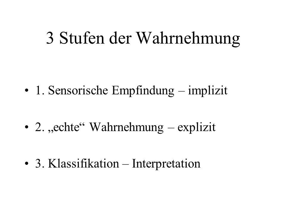 """3 Stufen der Wahrnehmung 1. Sensorische Empfindung – implizit 2. """"echte"""" Wahrnehmung – explizit 3. Klassifikation – Interpretation"""