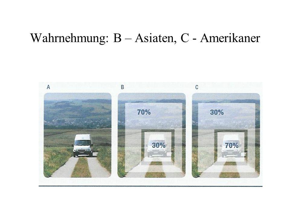 Wahrnehmung: B – Asiaten, C - Amerikaner