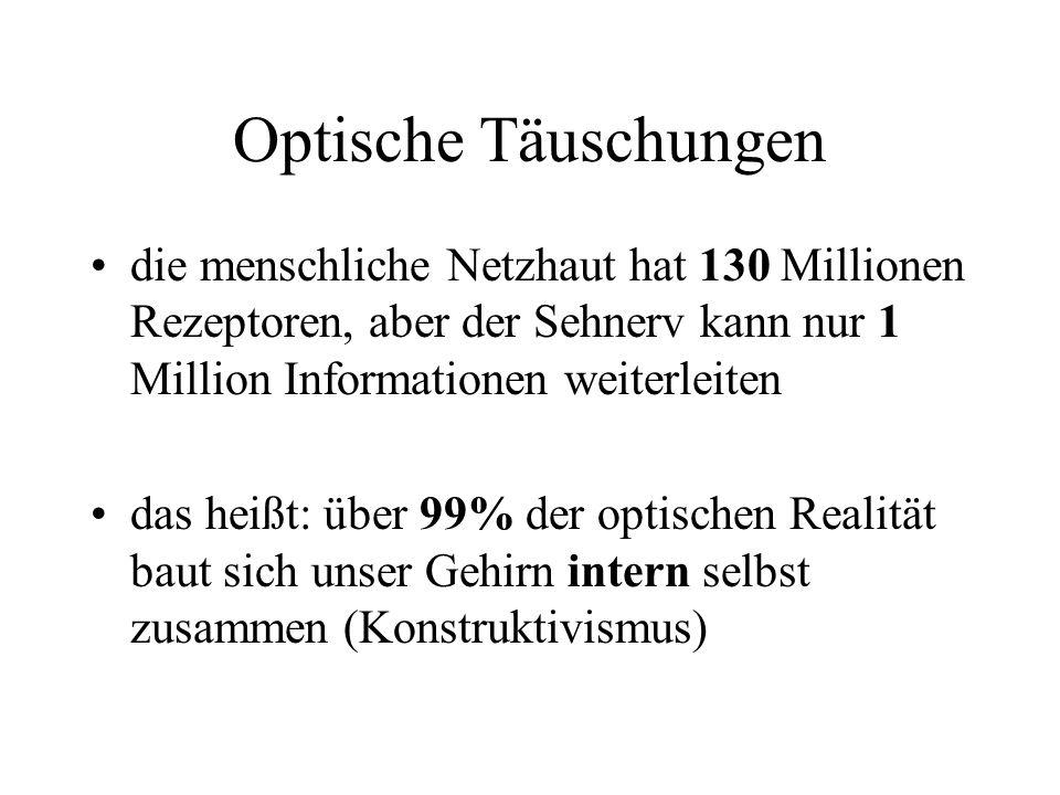 Optische Täuschungen die menschliche Netzhaut hat 130 Millionen Rezeptoren, aber der Sehnerv kann nur 1 Million Informationen weiterleiten das heißt: über 99% der optischen Realität baut sich unser Gehirn intern selbst zusammen (Konstruktivismus)