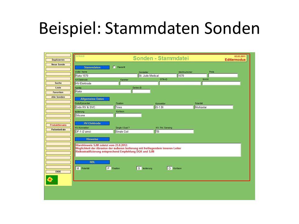 Beispiel: Stammdaten Sonden