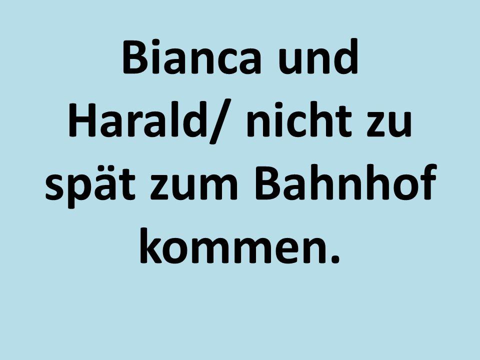 Bianca und Harald/ nicht zu spät zum Bahnhof kommen.