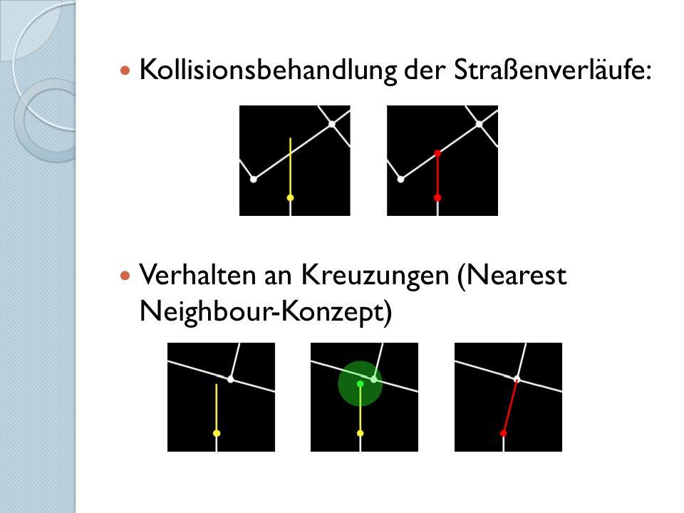 Kollisionsbehandlung der Straßenverläufe: Verhalten an Kreuzungen (Nearest Neighbour-Konzept)