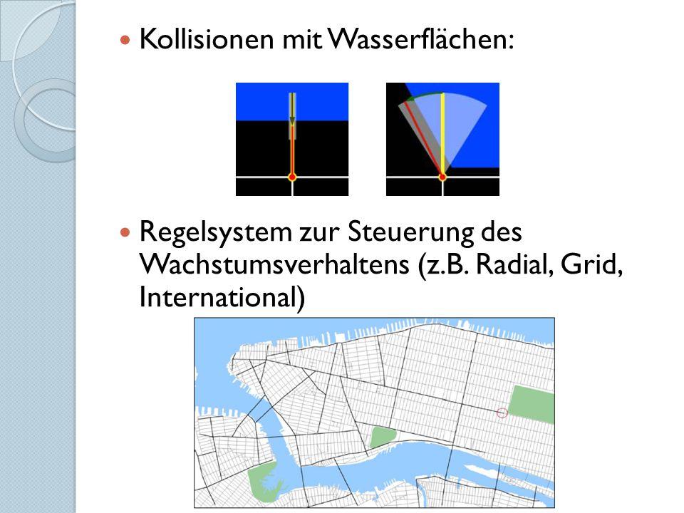 Kollisionen mit Wasserflächen: Regelsystem zur Steuerung des Wachstumsverhaltens (z.B. Radial, Grid, International)