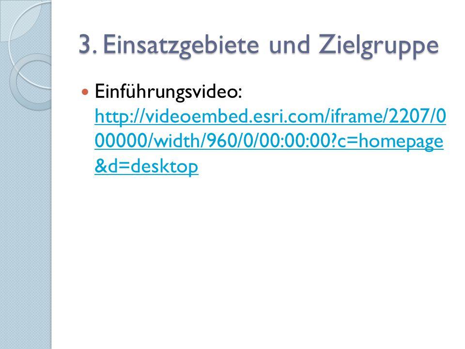 3. Einsatzgebiete und Zielgruppe Einführungsvideo: http://videoembed.esri.com/iframe/2207/0 00000/width/960/0/00:00:00?c=homepage &d=desktop http://vi