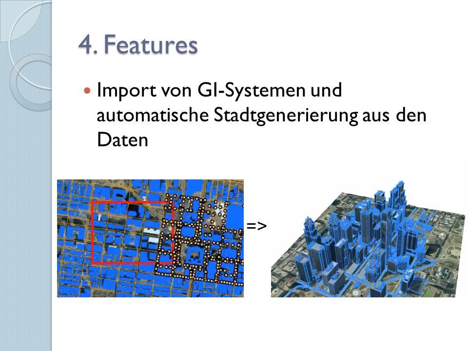 """""""City Wizard zur Generierung kompletter Städte aus vordefinierbaren Templates Texturgenerierung aus Fotos, anschließend automatische Zuweisung an passende Gebäude Sofort-Analysen von urbanen Messgrößen wie Bevölkerungsdichte etc."""