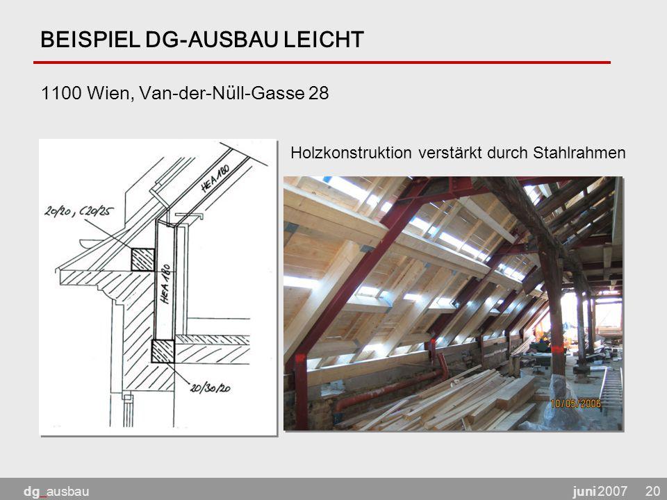 juni 2007dg_ausbau20 BEISPIEL DG-AUSBAU LEICHT 1100 Wien, Van-der-Nüll-Gasse 28 Holzkonstruktion verstärkt durch Stahlrahmen