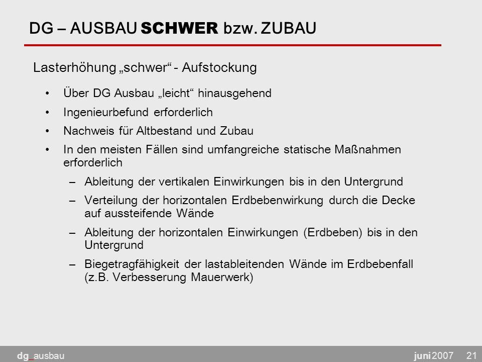 juni 2007dg_ausbau21 DG – AUSBAU SCHWER bzw.