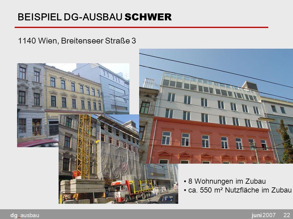 juni 2007dg_ausbau22 BEISPIEL DG-AUSBAU SCHWER 1140 Wien, Breitenseer Straße 3 8 Wohnungen im Zubau ca.