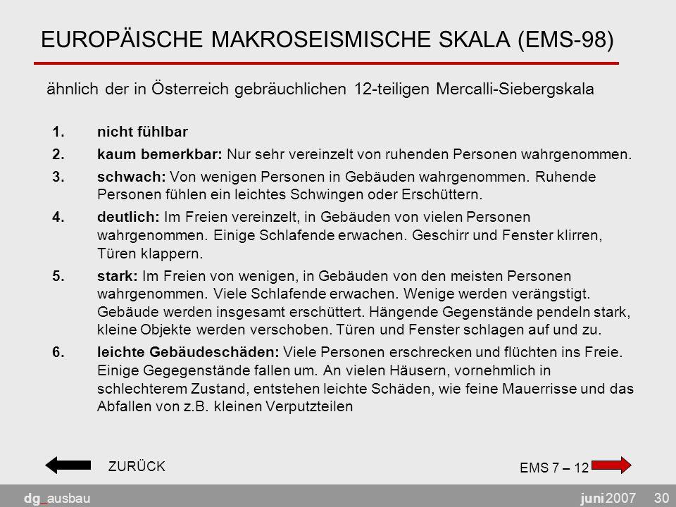 juni 2007dg_ausbau30 EUROPÄISCHE MAKROSEISMISCHE SKALA (EMS-98) ähnlich der in Österreich gebräuchlichen 12-teiligen Mercalli-Siebergskala 1.nicht fühlbar 2.kaum bemerkbar: Nur sehr vereinzelt von ruhenden Personen wahrgenommen.