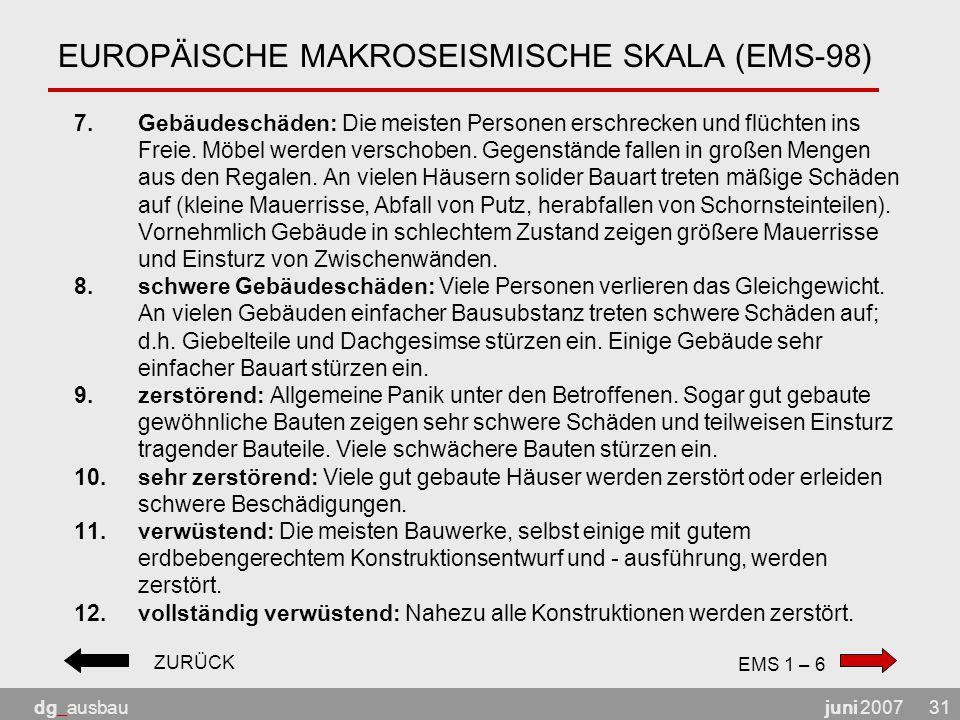 juni 2007dg_ausbau31 EUROPÄISCHE MAKROSEISMISCHE SKALA (EMS-98) 7.Gebäudeschäden: Die meisten Personen erschrecken und flüchten ins Freie.
