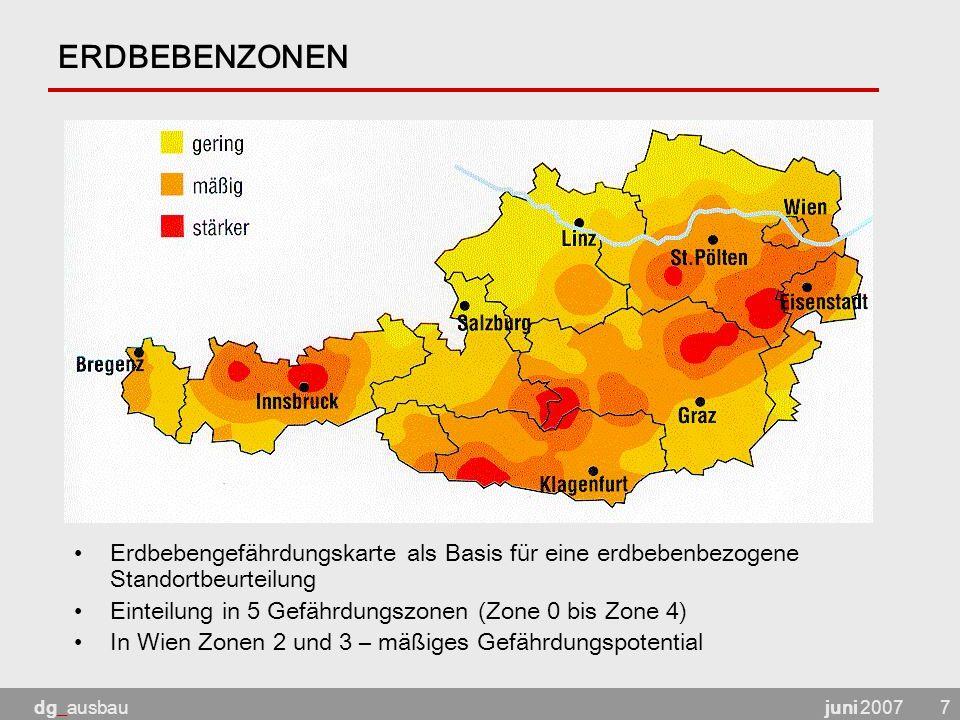 juni 2007dg_ausbau7 ERDBEBENZONEN Erdbebengefährdungskarte als Basis für eine erdbebenbezogene Standortbeurteilung Einteilung in 5 Gefährdungszonen (Zone 0 bis Zone 4) In Wien Zonen 2 und 3 – mäßiges Gefährdungspotential