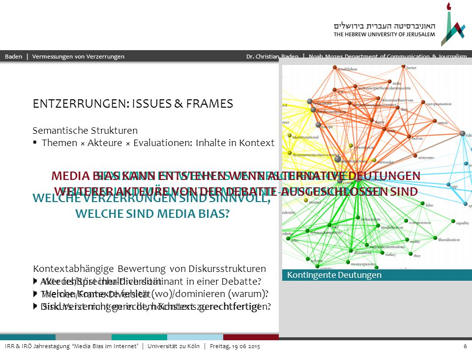 Dr. Christian Baden | Noah Mozes Department of Communication & Journalism 6IRR & IRÖ Jahrestagung 'Media Bias im Internet' | Universität zu Köln | Fre