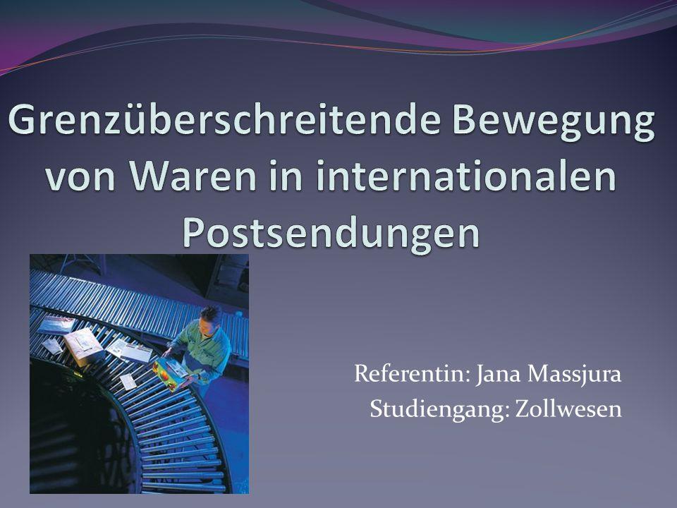 Ziel und Aufgaben der Arbeit Ein Ziel der Arbeit Ein Ziel der Arbeit: die Untersuchung der Beförderung der Waren in Internationalen Postsendungen (weiter-IP).